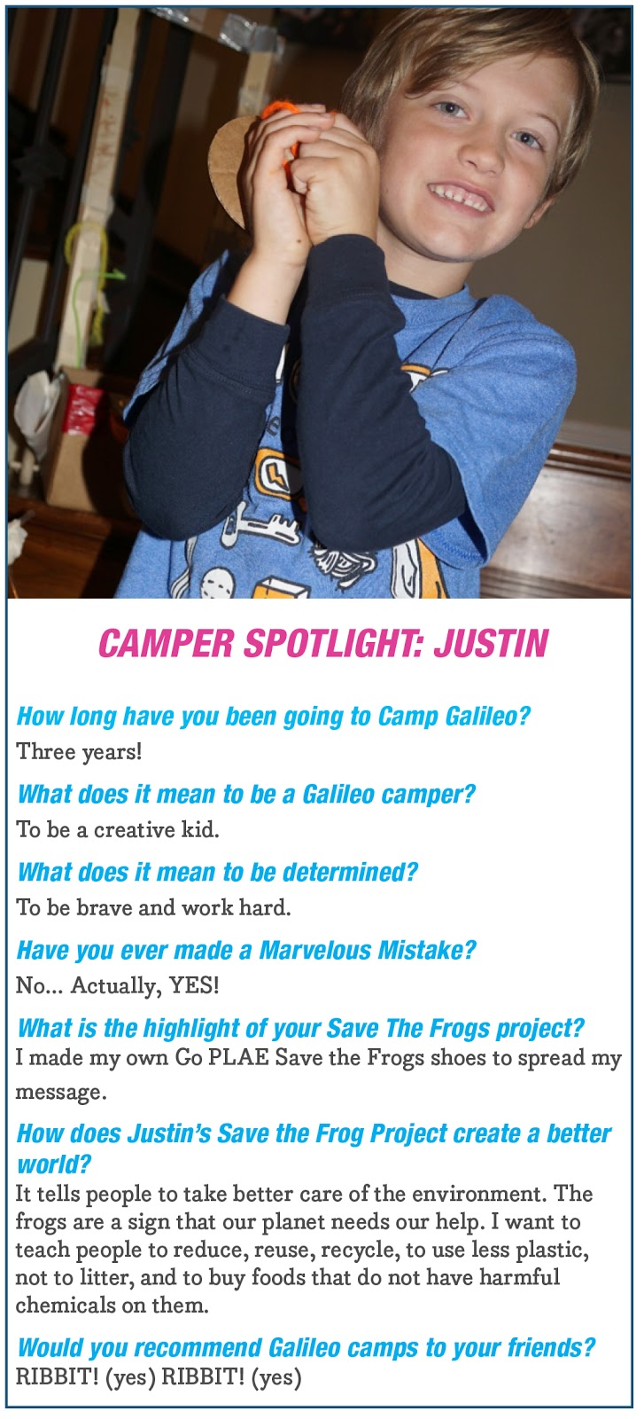 Camper Spotlight: Justin from Save the Frogs Project