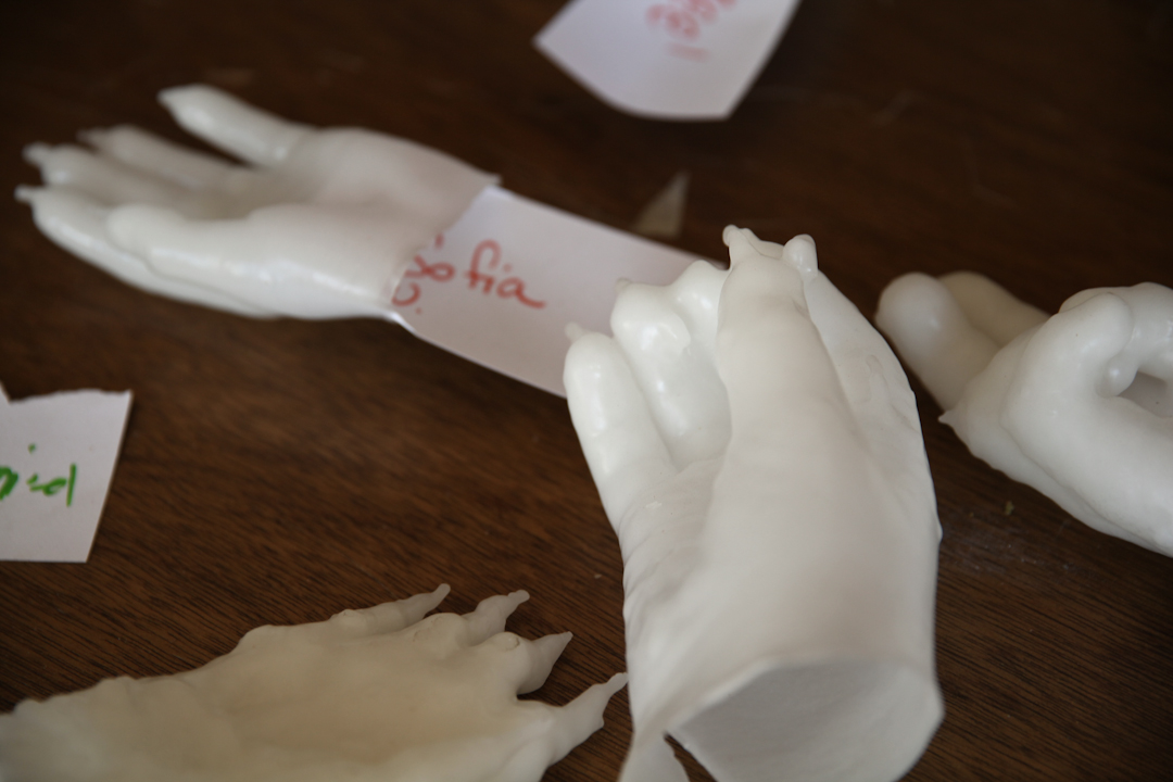 Wax hands after drying