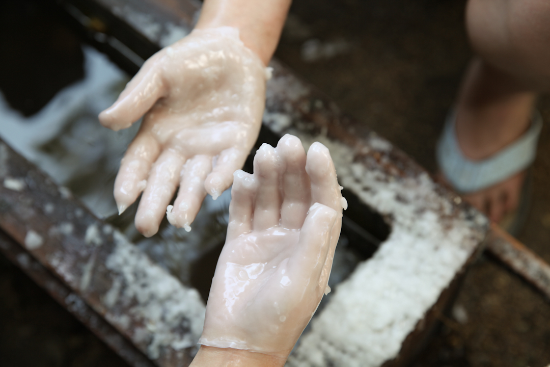 Wax drying on hands