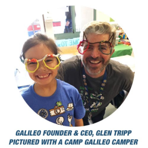 Glen Tripp, Galileo FOunder & CEO, with a Camp Galileo camper