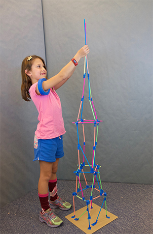 Galileo camper builds a straw tower