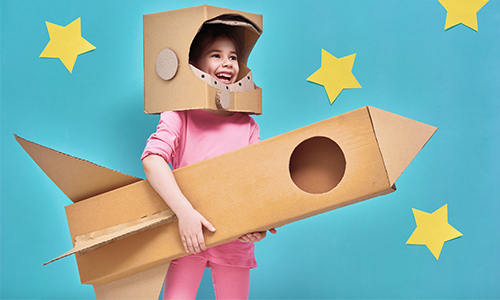 Using cardboard to make a DIY astronaut costume